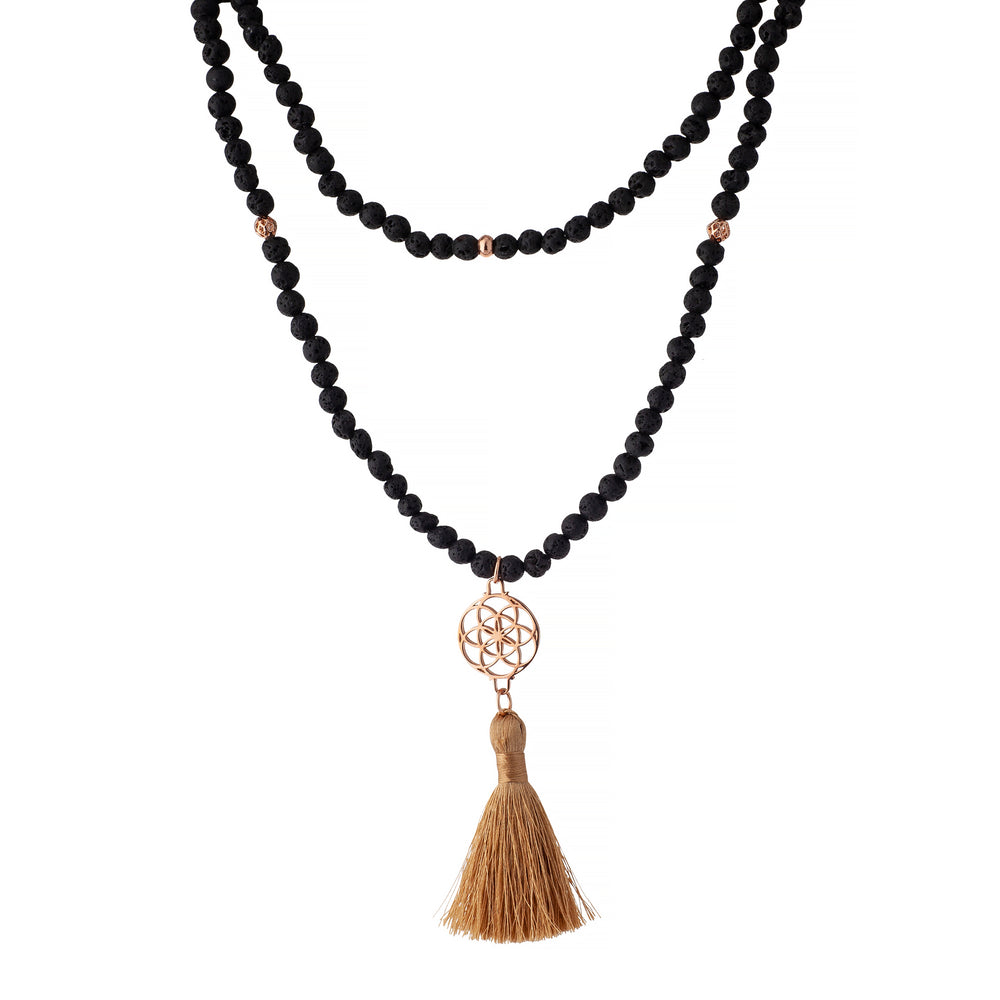 Embracing Change Seed of Life Black Lava Stone Necklace/Wrist Mala, Rose Gold Plated