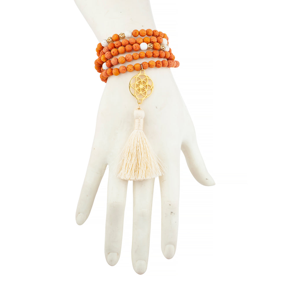 Enhance Creativity Seed of Life Orange Lava Stone Necklace/Wrist Mala, 18k Gold Plated