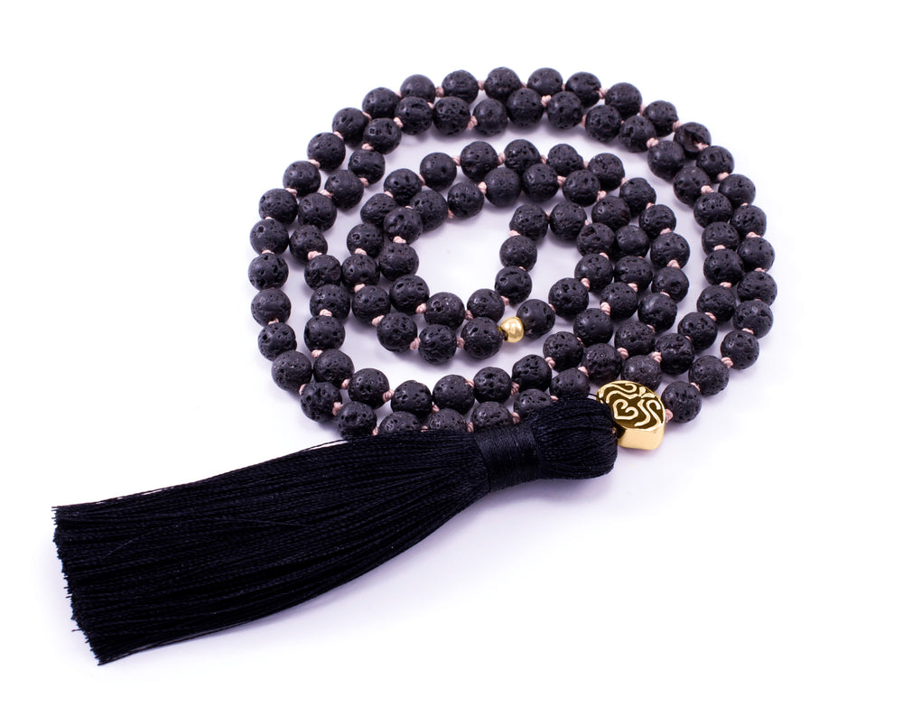 STRENGTH & STABILITY Black Lava Stone 108 Bead Mala 18k Gold