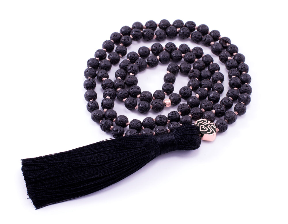 STRENGTH & STABILITY Black Lava Stone 108 Bead Mala Rose Gold