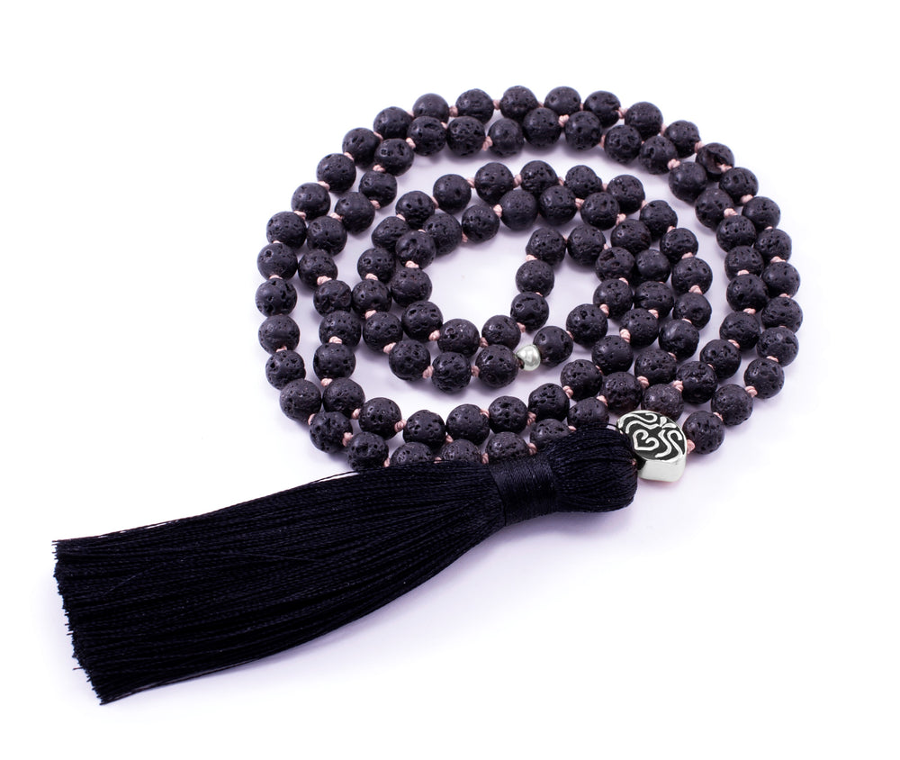 STRENGTH & STABILITY Black Lava Stone 108 Bead Mala White Rhodium