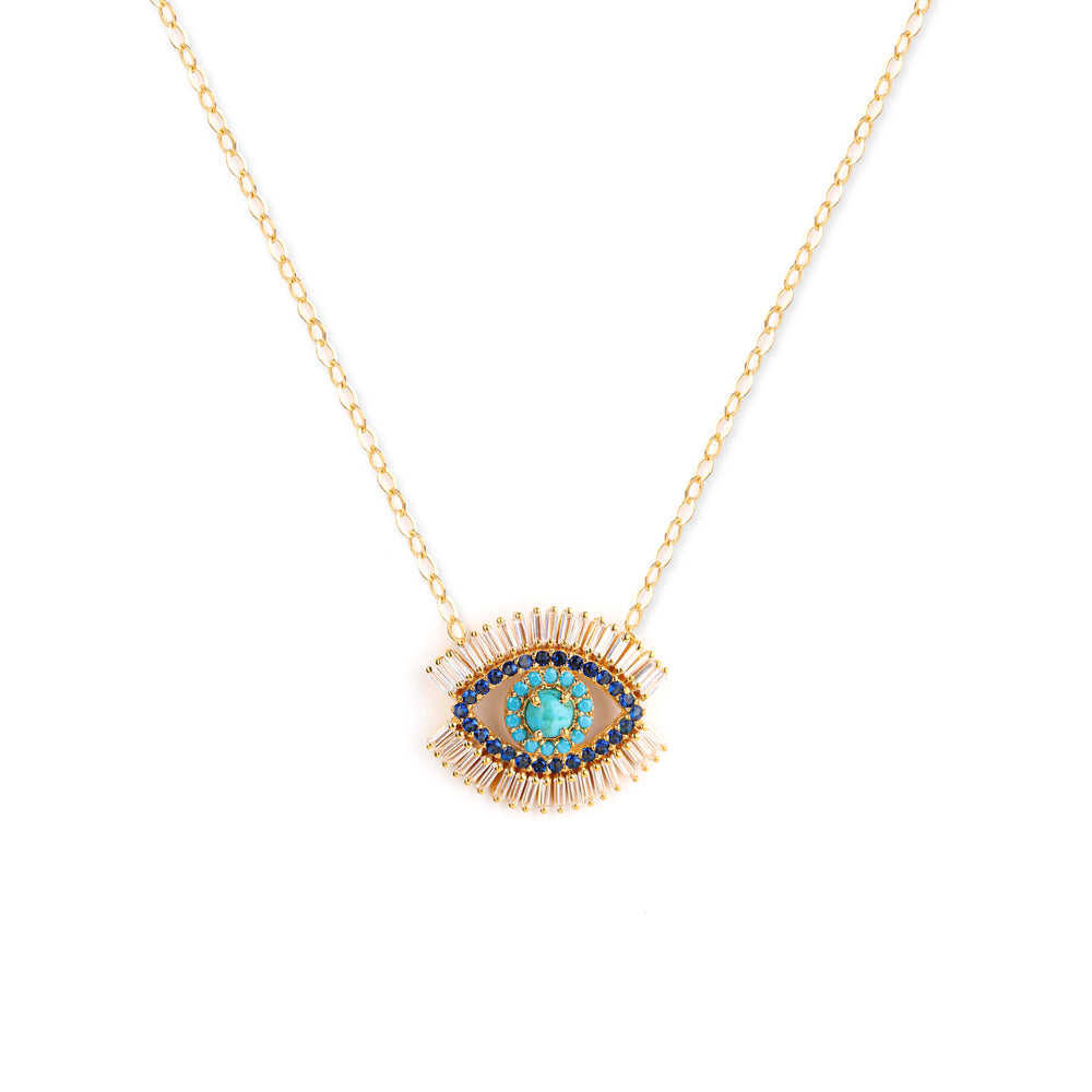 Evil Eye Necklace, 18k Gold Vermeil with Turquoise and Zirconia Baguette Diamonds