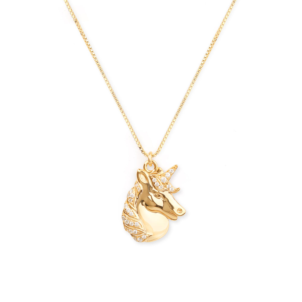 Mystical Unicorn Necklace, 18k Gold Vermeil with Zirconia Diamond
