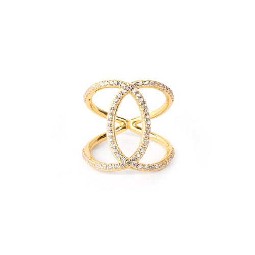 Ascension Criss Cross Ring, 18k Gold Vermeil, White Topaz