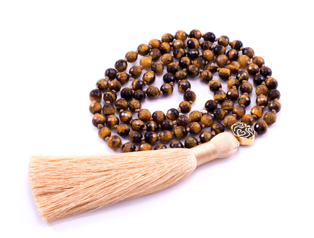 PROTECTION & EMPOWERMENT 108 Bead Mala, Tiger's Eye, 18k Gold