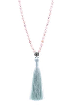 Pure Mind 108 Bead Mala, White Turquoise, 18k Gold with Aqua Tassel
