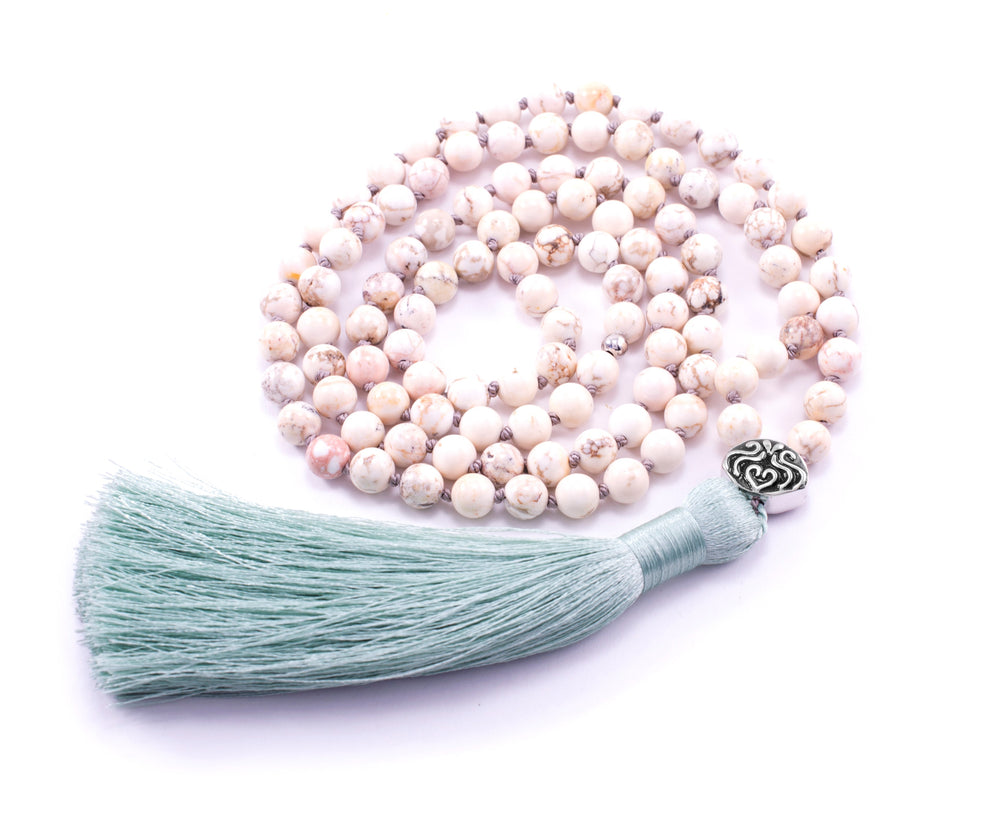 Pure Mind 108 Bead Mala, White Turquoise, White Rhodium with Aqua Tassel
