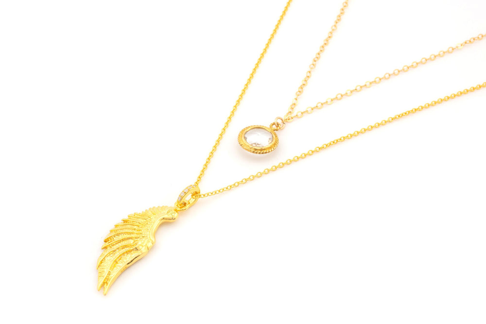 ARCHANGEL GABRIEL Angel Of Communication Necklace, Clear Quartz, 18k Gold