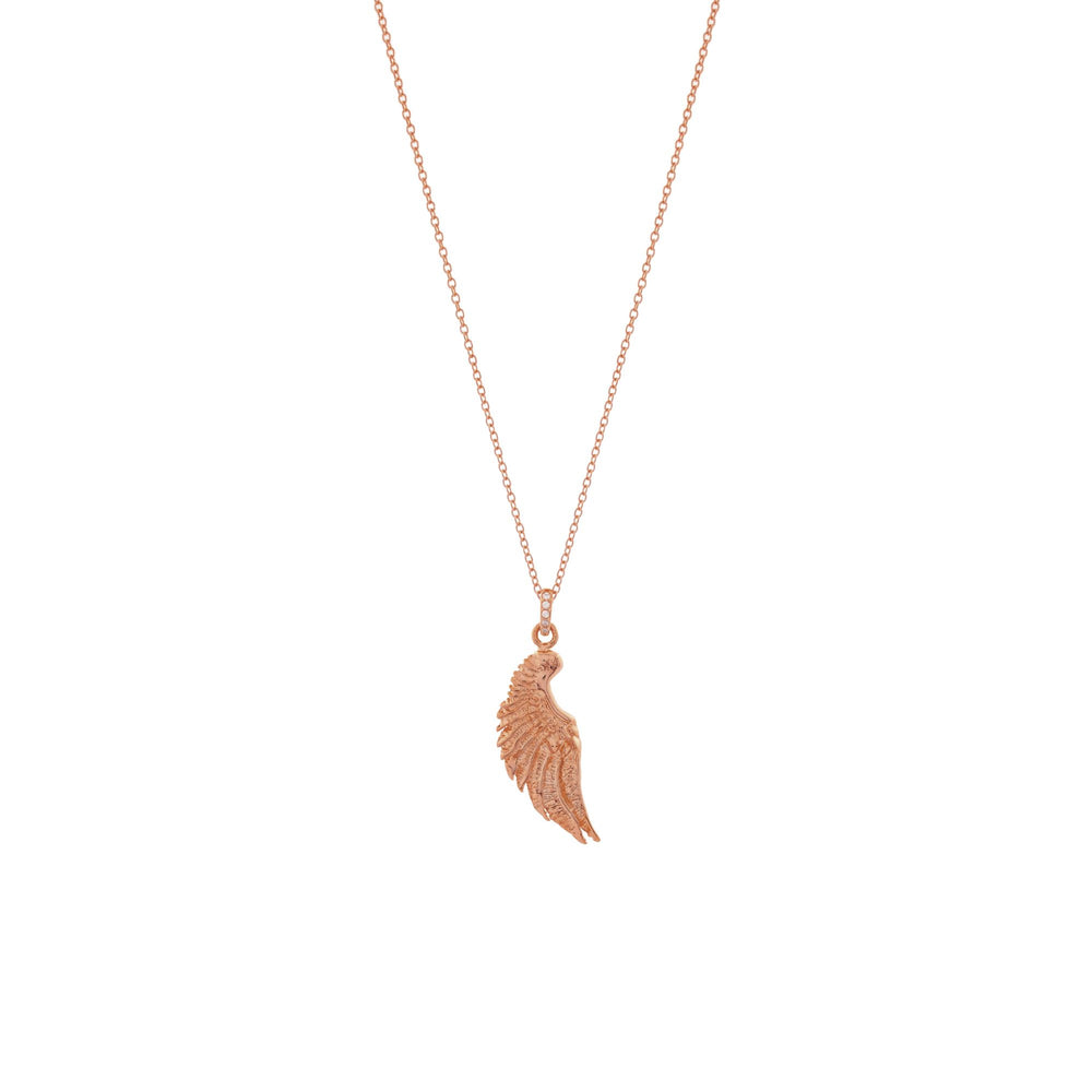 Angel Wing Necklace, Rose Gold over Sterling Silver