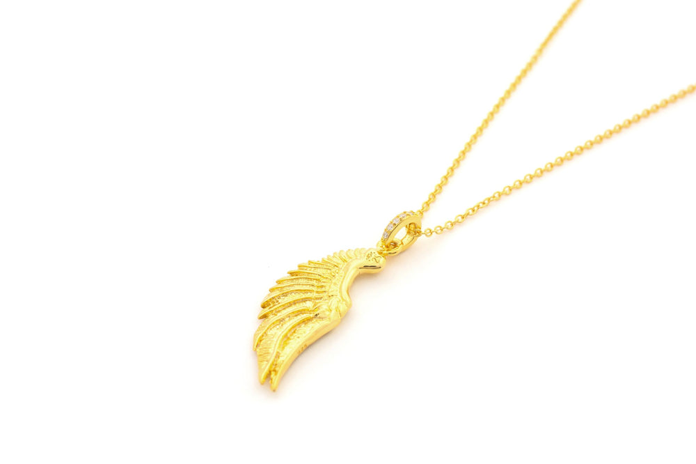Angel Wing Necklace, 18k Gold over Sterling Silver
