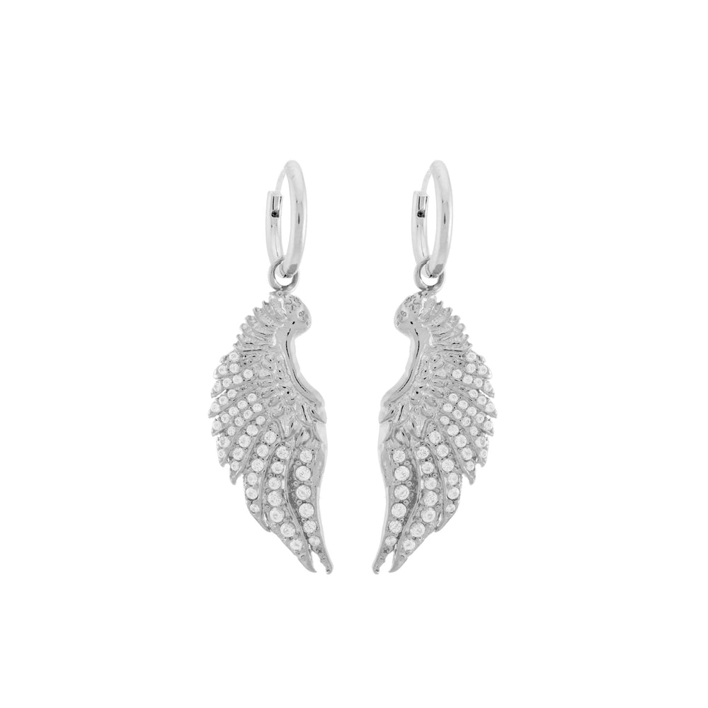Angel Wing Earrings with CZ Diamond Pave, White Rhodium over Sterling Silver