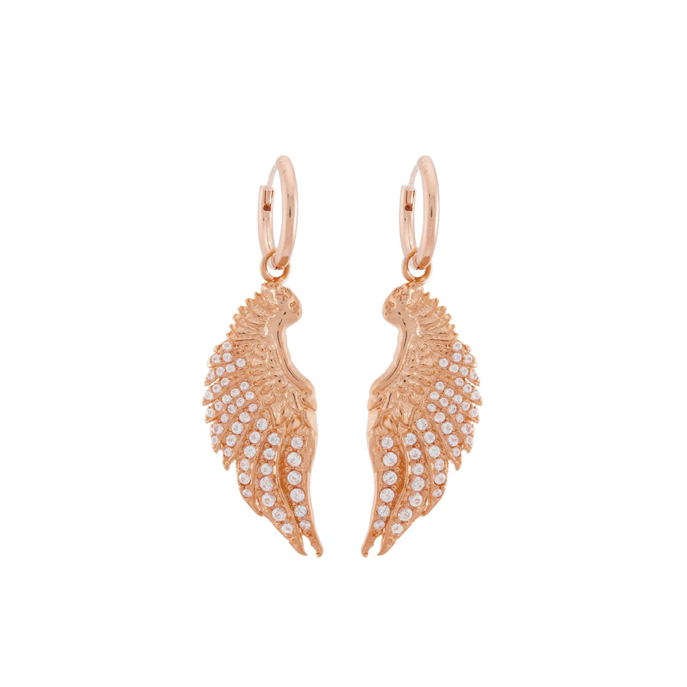 Angel Wing Earrings with CZ Diamond Pave, Rose Gold Vermeil