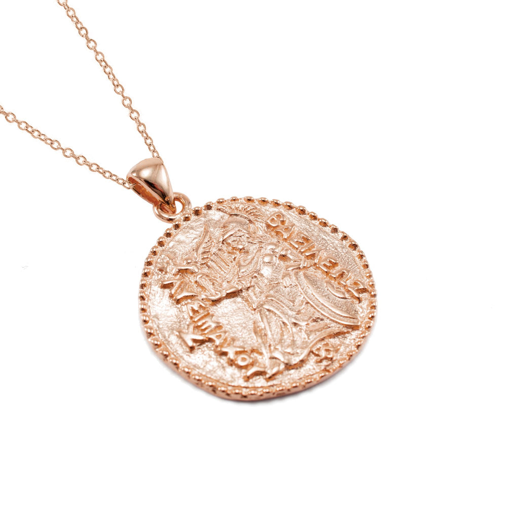 Athena Antique Coin Necklace Rose Gold Vermeil