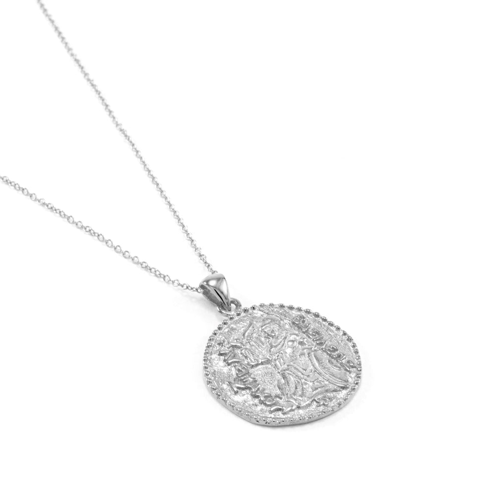 Athena Antique Coin Necklace White Rhodium