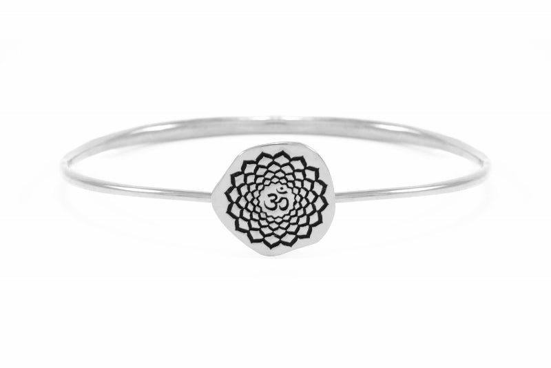 CROWN CHAKRA Sahasrara Bangle, White Rhodium dipped Sterling Silver *Online Only