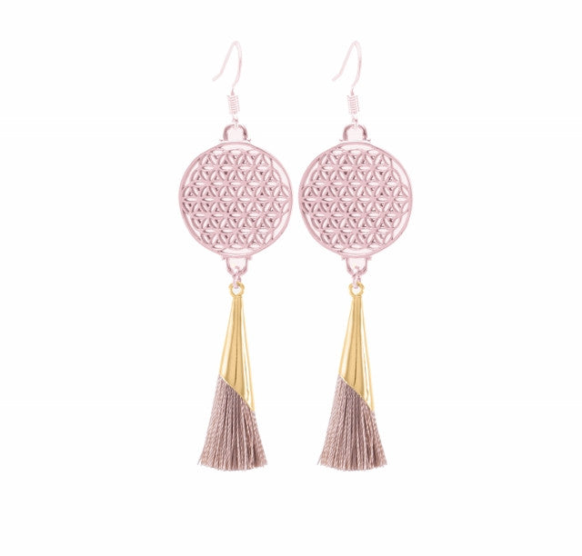 Flower of Life Tassel Earrings Mocha, Rose Gold Finished Sterling Silver
