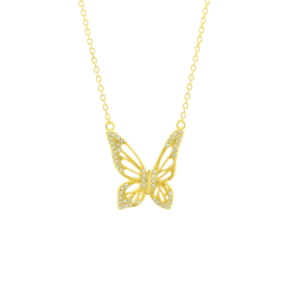 Graceful Spirit Butterfly Necklace, Rose Gold Vermeil with Pave CZ Diamond