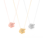 "Classic ""Purity"" Rose Necklace with White Topaz, Rose Gold Vermeil"