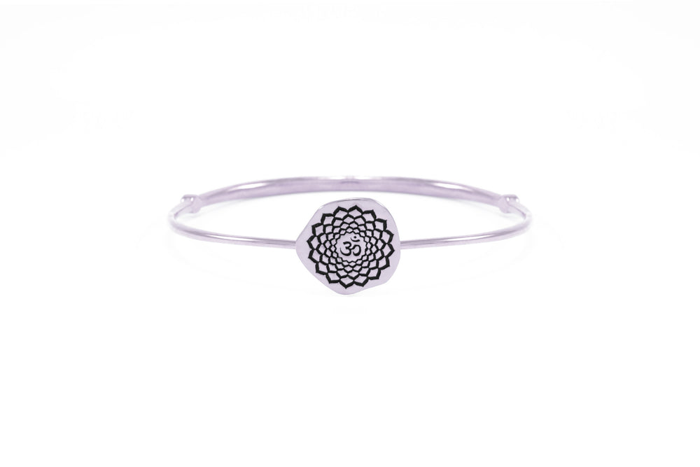 CROWN CHAKRA Sahasrara Bangle, Amethyst, White Rhodium Finish