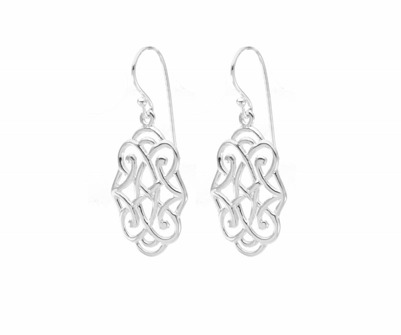 Infinite Love Drop Earrings White Rhodium Finished Sterling Silver