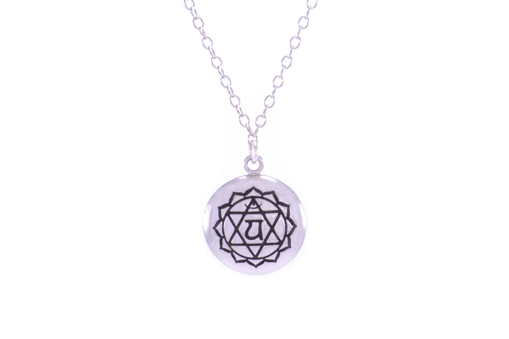 HEART CHAKRA Anahata Necklace White Rhodium/Sterling Silver