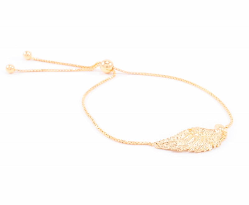 Angel Wing Bolo Friendship Bracelet 18K Gold Vermeil