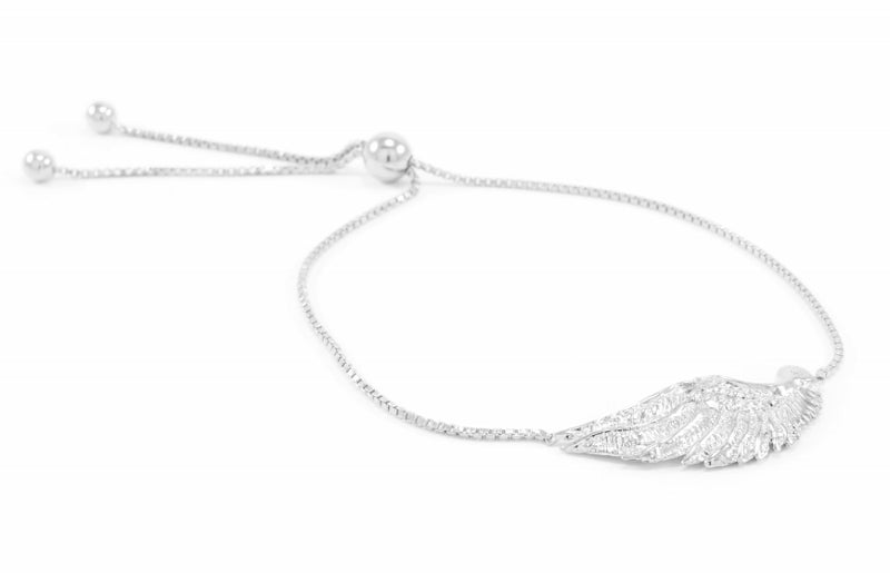 Angel Wing Bolo Friendship Bracelet White Rhodium