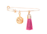 Aromatherapy Tassel Expandable Diffuser Bangle, Round Charm Pink, 18K Gold Plated, One Size