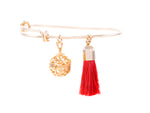Aromatherapy Tassel Expandable Diffuser Bangle, Round Charm Red, 18K Gold Plated, One Size