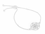 SEED OF LIFE Sterling Silver, White Rhodium Finish Adjustable Bracelet
