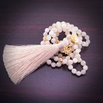 Attracting Love & Abundance Lotus Mala, White Moonstone, 18K Gold Finish