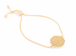 FLOWER OF LIFE Sterling Silver, 18K Gold Vermeil Adjustable Bracelet (one size)