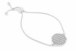 FLOWER OF LIFE Sterling Silver, White Rhodium Finish Adjustable Bracelet