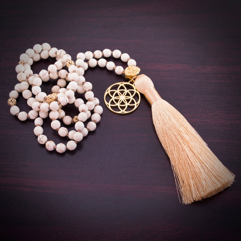 Calm & Stress Relief Seed of Life Mala, White Howlite, 18K Gold Finish