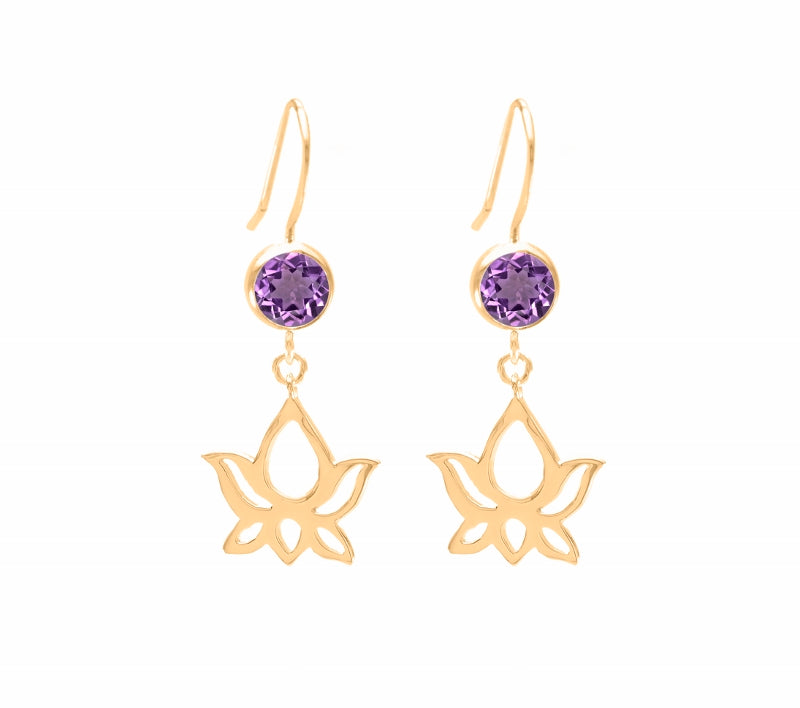 Lotus Dangle Earrings Amethyst Crystal, 18K Gold Vermeil
