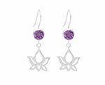 Lotus Dangle Earrings Amethyst Crystal, White Rhodium finished Sterling Silver