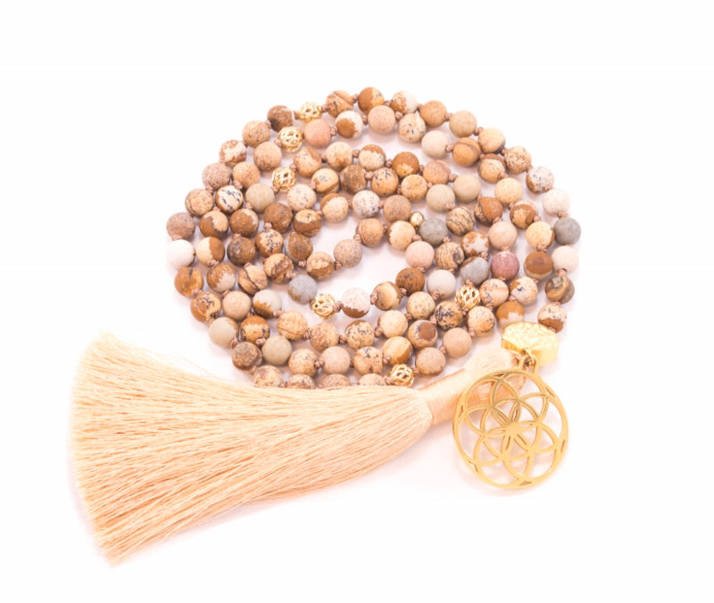 Wisdom & Protection Seed of Life Mala, Picture Jasper, 18K Gold Finish