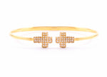 Double Pave Cross Cuff 18K Gold Vermeil, White Crystal, One size