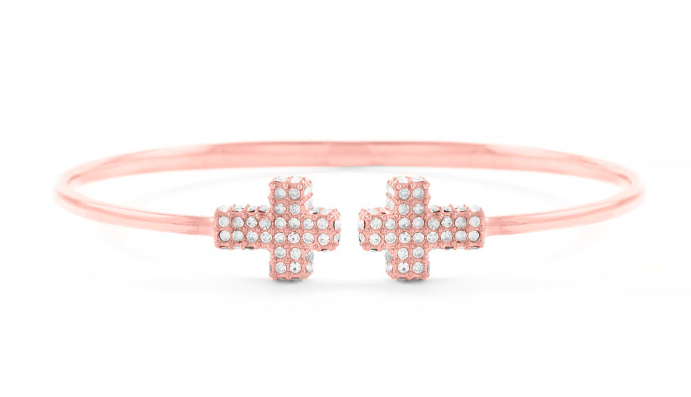 Double Pave Cross Cuff Rose Gold Vermeil, White Crystal, One size