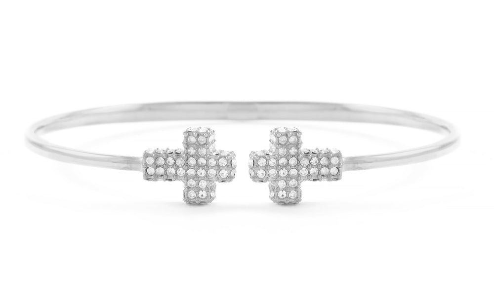 Double Pave Cross Cuff White Rhodium, White Crystal, One size