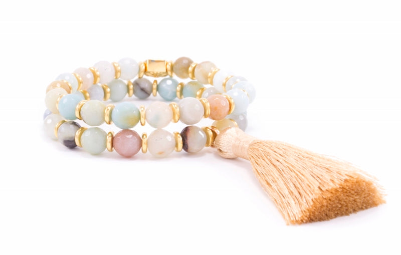 Truth Seeker's Wrist Mala, Amazonite Tassel Bracelet, Gold Plated