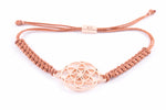 SEED OF LIFE Rose Gold Vermeil Macrame Bracelet,Copper Cord, One Size