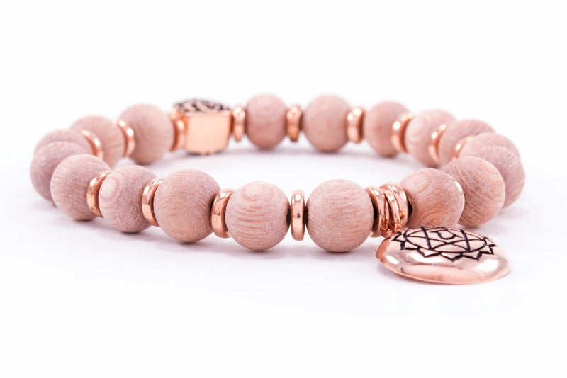 Heart Chakra Activation Rosewood Bracelet, Rose Gold Finish