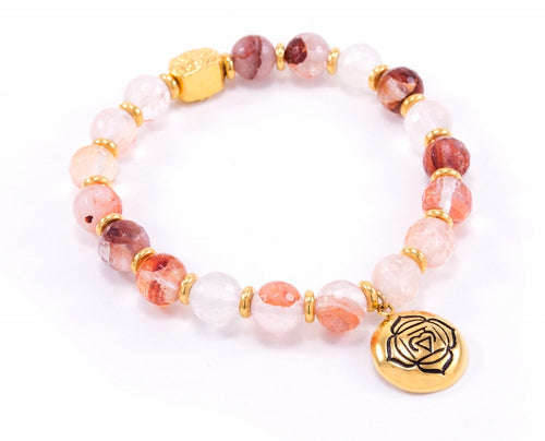 ROOT Chakra Activation Bracelet, Red Quartz 18K gold