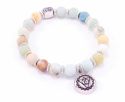 Throat Chakra Activation Bracelet Matte Amazonite, White Rhodium