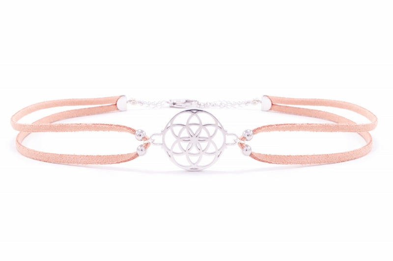 Seed of Life Vegan Suede Choker Sterling Silver/Blush Tan