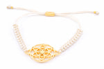 SEED OF LIFE 18K Gold Vermeil Macrame Bracelet, Ivory, One Size
