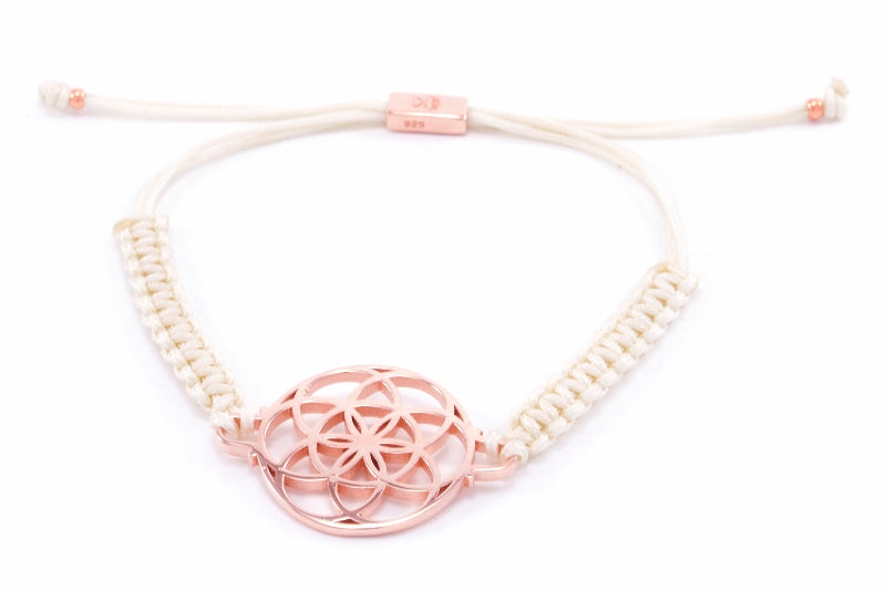 SEED OF LIFE Rose Gold Vermeil Macrame Bracelet, Ivory, One Size