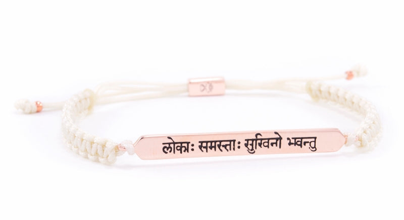 """May All Beings Be Happy & Free"" Sanskrit Chant Macrame Friendship Bracelet, Rose Gold/Ivory"
