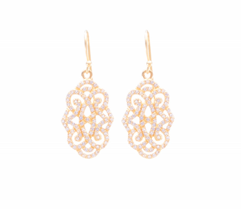 Infinite Love Drop Earrings with White Topaz Pave, Rose Gold Vermeil